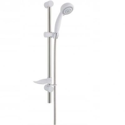 Combo 6 Spray White / Chrome Shower Rail Riser Kit